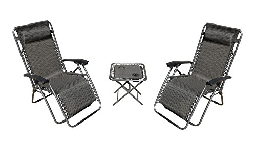 Mano Patio Zero Gravity Chairs & Table Set of 3, Dark Grey