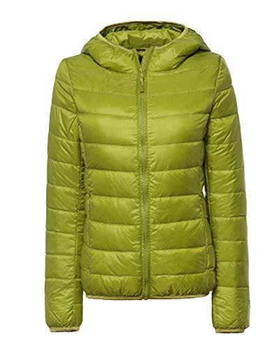 ZiXing Women's Hooded Ultra Light Packable Down Puffer Jacket Coat Quilted Lightweight Outdoor Down Parka Green 1