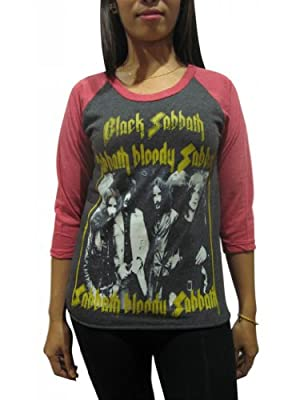 BUNNY BRAND Women's Black Sabbath Bloody Sabbath Ozzy Osbourne Raglan T-Shirt