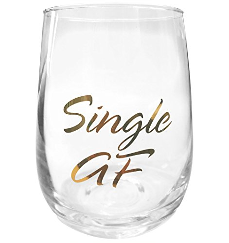 Funny Wine Glass, Single AF 16 oz Novelty Wine Glass, Perfect Gift For Women, Friends and Valentine's Day