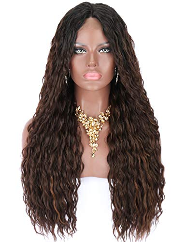 Kalyss Black Roots Ombre Brown Highlights Premium Futura Synthetic Water Wave Curly Lace Front Wigs for Black Women Glueless Middle Parting Half Hand Tied Natural Looking Lace Wigs,26 Inches 0.66 ()