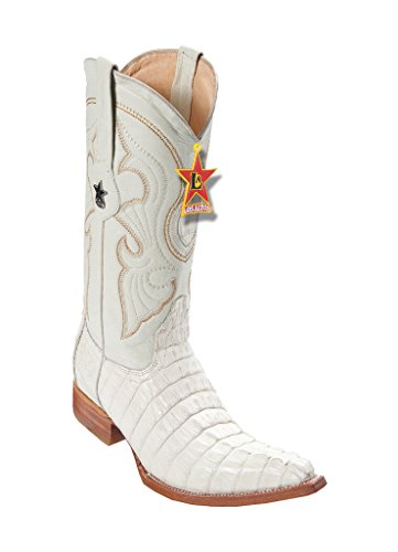 - Los Altos Men's 3X-Toe Winter White Genuine Leather Caiman Tail Western Boots