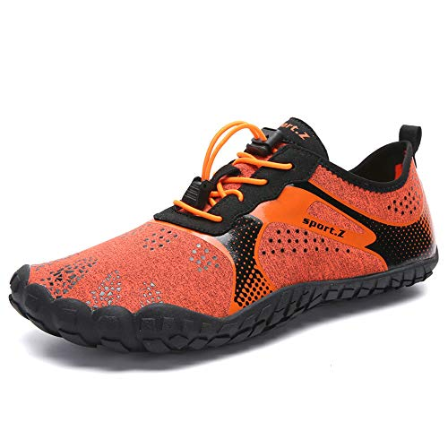 MARITONY Water Hiking Shoes for Men, Lightweight Quick Dry Barefoot Socks Water Aerobic Swim Shoes with Toes, Water Sneaker for Beach Diving Surf, 1901 OrangeRed 42