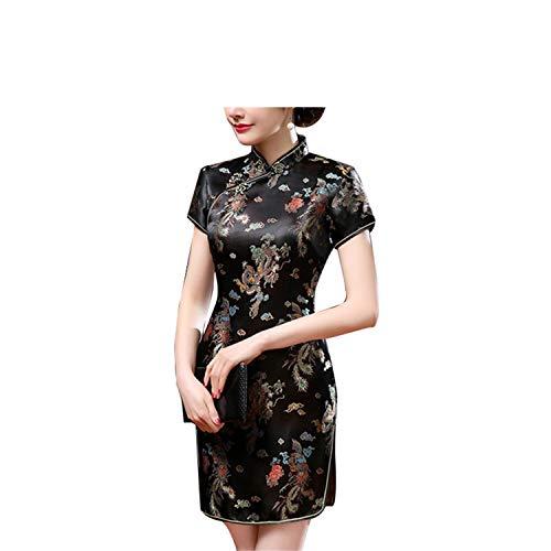 MRxcff Ethnic Fashion Women Chinese Dragon Phoenix Stand Collar Slim Cheongsam Dress Black M ()