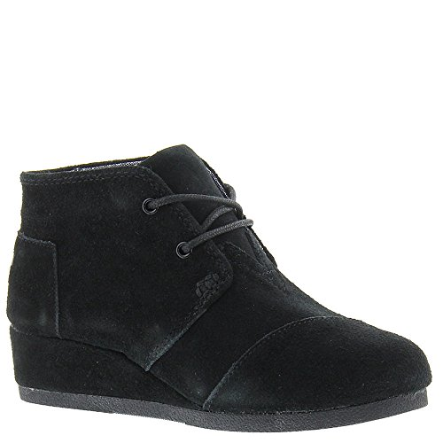 TOMS Girls Desert Wedge Suede, Black, 6