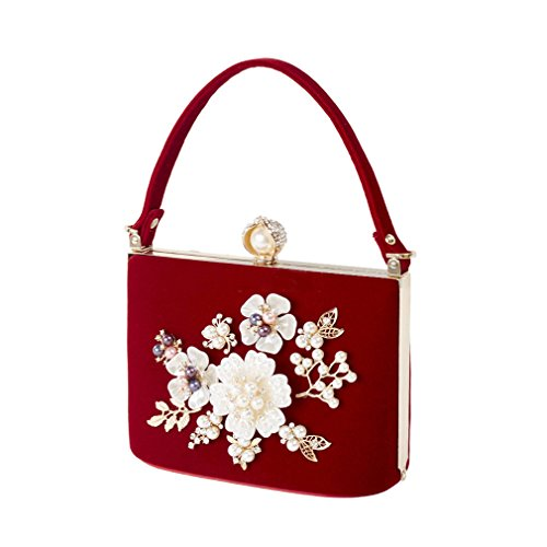 Pearl Bags Velvet Bag Wedding Mini Velour Clutch Bridal Crystal Hand Party Red Luxury Women Ladies Evening wEXSw