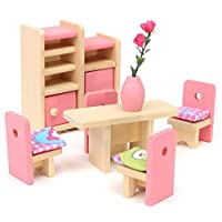 Glamorway Baby Kids Play Pretend Toy Design Wooden Doll Furniture Dollhouse Miniature Toy Children Gifts for Dinning Room