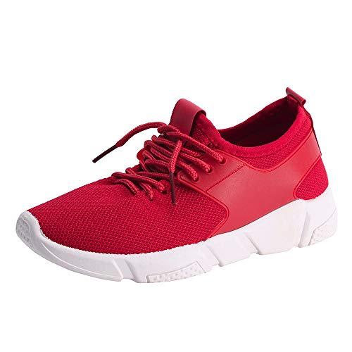 Sonnena Damen Leichtgewicht Breathable Wanderschuhe Sneaker Gym Fitness Mesh Turnschuhe Freizeitschuhe Casual Schnürer Sportschuhe Laufschuhe 36-40 Rot