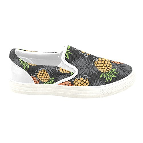 D-story Custom Sneaker Palm Leave Pineapple Mujeres Inusuales Slip-on Canvas Zapatos