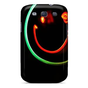 Flexible Tpu Back Case Cover For Galaxy S3 - Lightpainting Smile Wallpaper
