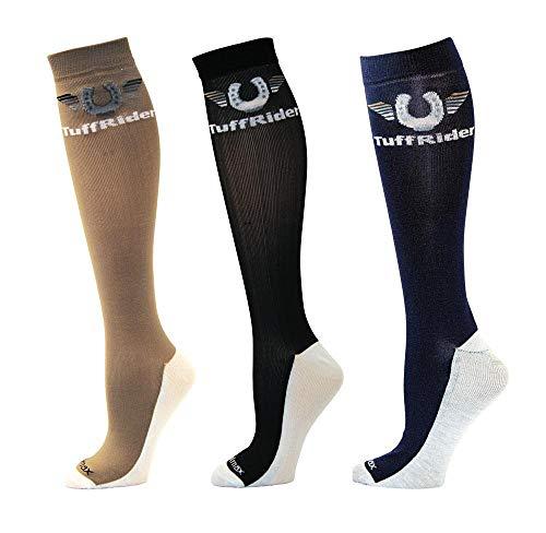 TuffRider Coolmax Boot Socks - 3 Pack - SND/Bk/NVY