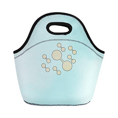 Semtomn Lunch Bags Molecule Atom Flat Simple Line Retro Color Modern Pictogram Neoprene Lunch Bag Lunchbox Tote Bag Portable Picnic Bag Cooler Bag
