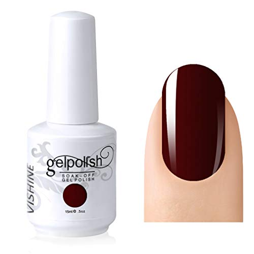 Vishine Gelpolish Professional UV LED Soak Off Varnish Color Gel Nail Polish Manicure Salon Dark Red(1418)