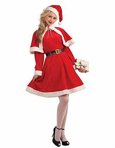 EraSpooky Women Christmas Miss Santa Claus Costume(Red, One Size) (Miss Santa Adult)