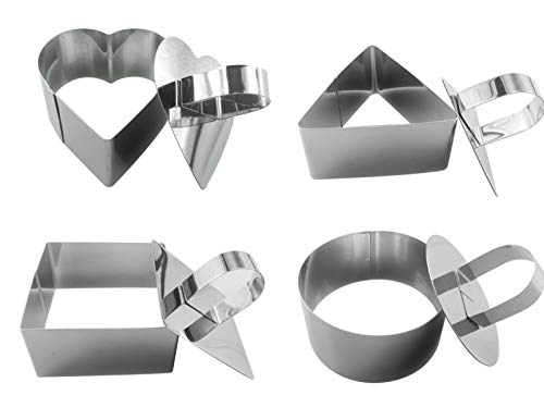 Small Stainless Steel Cake Rings-Mousse and Pastry Mini Baking Ring Mold with Pusher-Set 4 with Round,Square,Heart and Triangle Shape