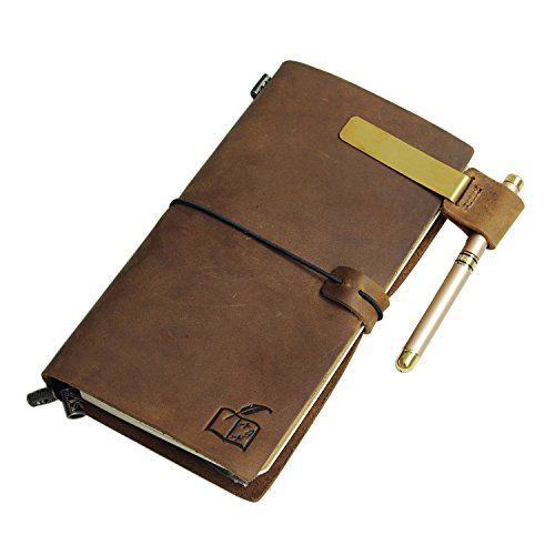 Robskraft Genuine Leather Journal and Pen Gift Set with Unlined Paper | Notebook Journal for Men or Women | Leather Bound Writing Journal for Daily Diary, Travel Notepad by Robskraft