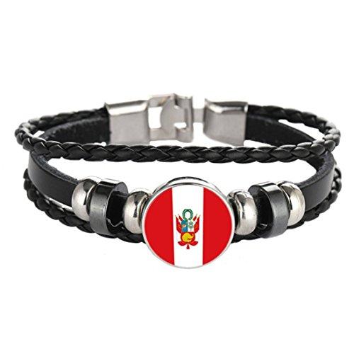 Bracelet Friendship Peru - Flag Braided bracelet ,patriotic bracelet ,Leather bracelet ,Black bracelet (Peru)