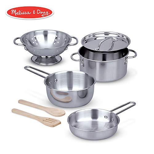 "Melissa & Doug Let's Play House! Stainless Steel Pots & Pans Play Set for Kids Construction, 8 Pieces, 13"" H x 6"" W x 6"" L)"