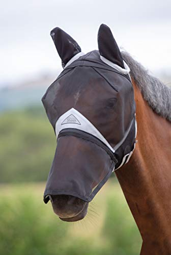 Shires Fine Mesh Horse Equine Fly Mask with Ears and Detachable Nose 60% UV Protection (Full, -