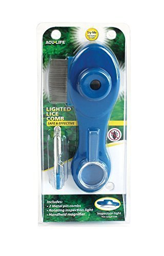 Acu-Life Health Enterprises Lice Comb With Built-In Light, Magnifying Glass And Interchangeable Metal Pins