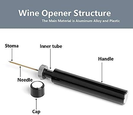 Aleenfoon abridor de corcho de vino profesional abridor de botellas de vino fácil de abrir rápido sacacorchos mini bolsillo abridor de botellas de vino bomba de presión de aire removedor de corcho