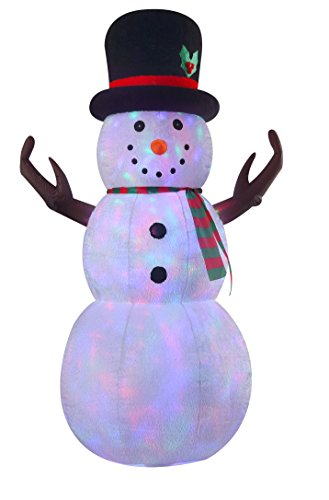 VIDAMORE 8 Foot Large Inflatable X-Mas Plush Snowman LED Lighted Inflatables Outdoor -