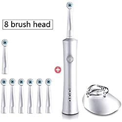 Electric Toothbrush Rechargeable Ultrasonic Toothbrush for Children Kids Adults Sonic Teeth Brush 2 Speed, 8 Brush Heads