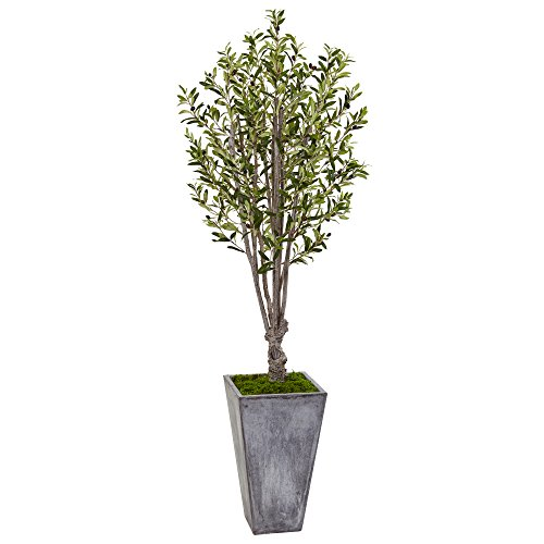 Nearly Natural 6' Olive Artificial Tree in Stone Planter, Green by Nearly Natural