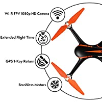 "Force1 Drones with Camera and GPS - ""MJX Bugs 2 Shadow"" Camera Drone and WiFi FPV Drone with Camera Live Video + Drone 1080p Camera by Force1"