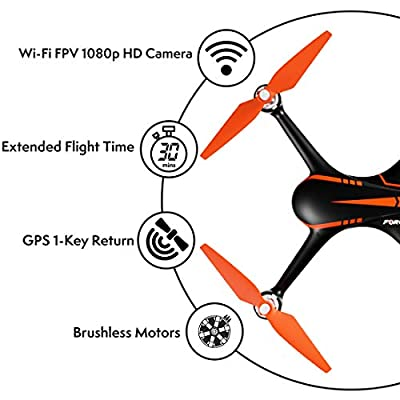 """Force1 Drones with Camera and GPS - """"MJX Bugs 2 Shadow"""" Camera Drone and WiFi FPV Drone with Camera Live Video + Drone 1080p Camera by Force1"""