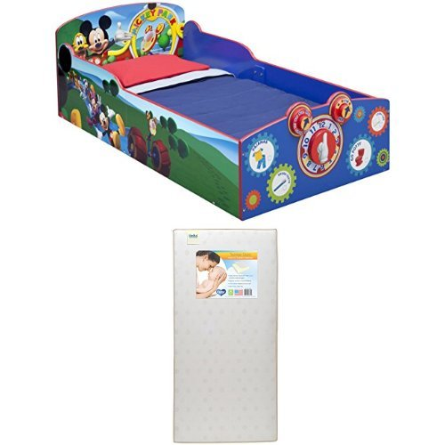 Delta Children Interactive Wood Toddler Bed, Disney Mickey Mouse  with Twinkle Stars Crib & Toddler Mattress by Delta Children