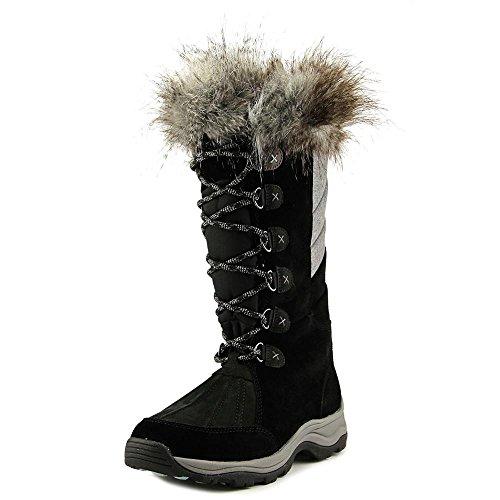 CLARKS Women's Wintry Hi Waterproof High Boot,Black Cow Suede/Nubuck,US 8 (Black Cow Suede Footwear)