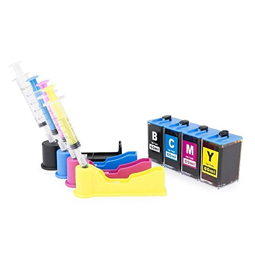 INKUTEN DIY Do-It-Yourself Ink Refill System for HP 902 902XL 906XL HP902 HP906 4 Color - 240ml Compatible with HP OfficeJet 6979, 6978, 6968, 6960, 6970 Printer