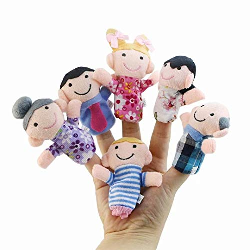 CARDEON 6Pcs Finger Puppets Set Cute Animal Style Soft Plush Animal Baby Story Time Finger Puppets for Children, Shows, Playtime, Schools