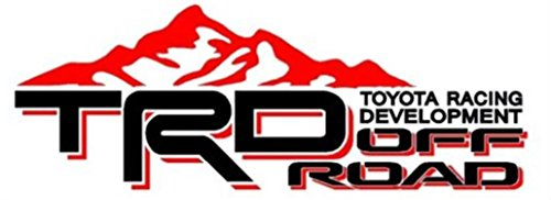 Toyota TRD Truck Mountain Off-Road 4x4 Racing Tacoma Decal Vinyl Sticker PAIRof2 (BLACK / RED)