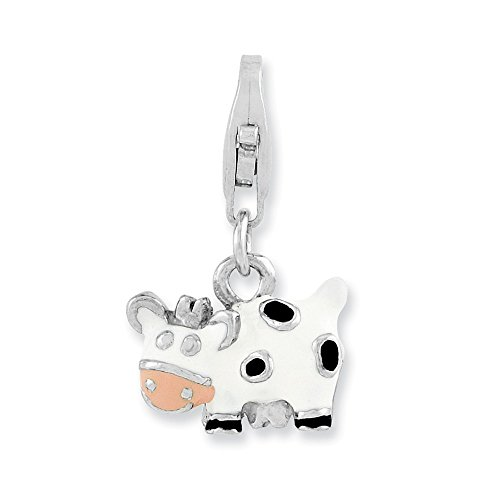 925 Sterling Silver Enameled Cow Lobster Clasp Pendant Charm Necklace Animal Fine Jewelry Gifts For Women For Her