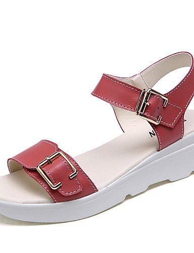LFNLYX Zapatos de mujer-Tacón Plano-Cuñas / Creepers-Sandalias-Oficina y Trabajo / Vestido / Casual-Cuero-Azul / Rosa / Beige Light Blue
