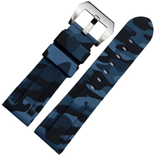New Camouflage Silicone Rubber Watch Band 24mm Watch Strap for PAM Submersible (Blue Camo Fashion Watch)