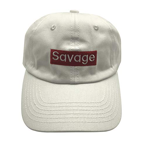 935ecd3e5e05c qifang liu Savage Dad Hat Baseball Cap 3D Letters Embroidered Adjustable  Snapback White