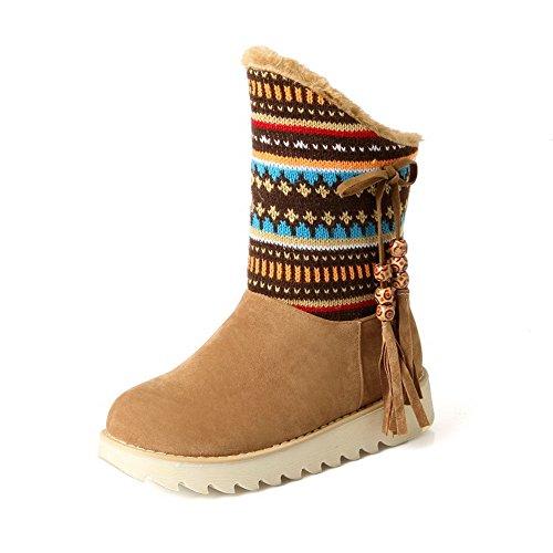 AllhqFashion Damen Ziehen auf Niedriger Absatz Blend-Materialien Gemischte Farbe Stiefel, Braun, 41