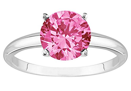 Gold Pink Sapphire Solitaire (Near 1 Carat 14K White Gold Round Pink Sapphire 4 Prong Solitaire Diamond Engagement Ring (AAA Quality))