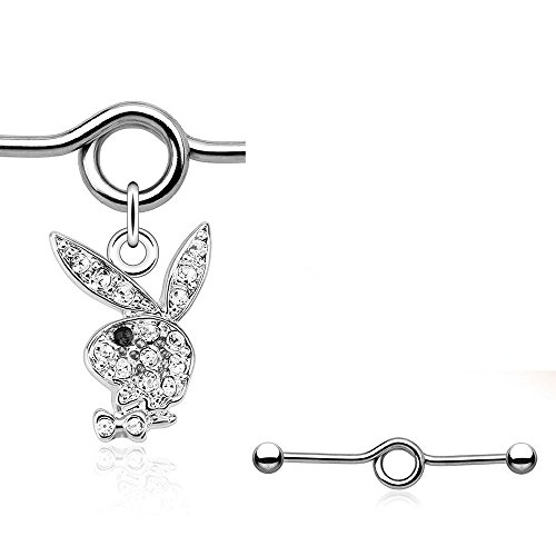 (Playboy Bunny Gems Pave Industrial Barbell Freedom Fashion 316L Surgical Steel )