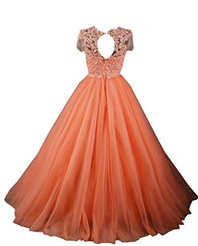 abito da Orange vestiti lungo Sunvary corta arancione manica sposa paillettes da ballo w11q6XI
