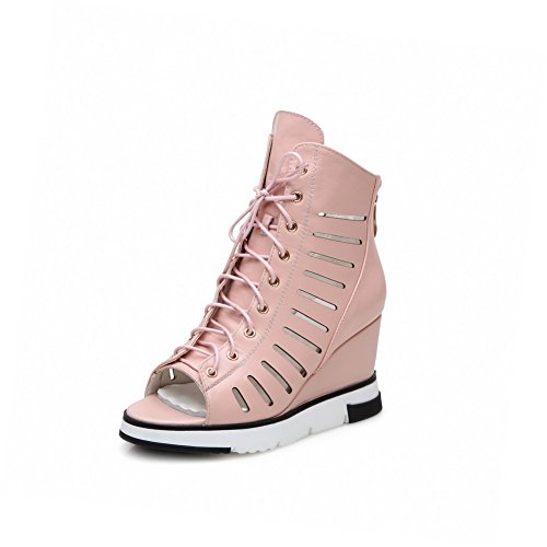 AgooLar Women's Zipper High Heels PU Solid Peep Toe Sandals Pink cLzyK