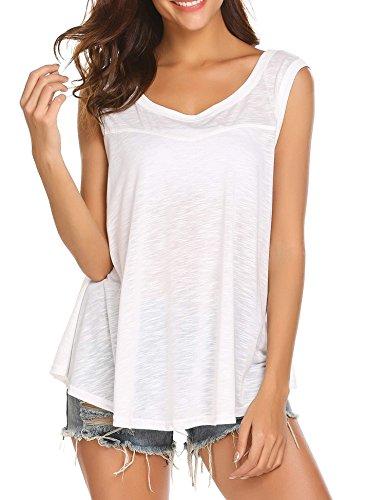 SoTeer Womens Back Deep V Neck Cotton Blend Tank Tops Loose Sleeveless Shirt Blouse White (V-neck Sleeveless Cotton Top White)