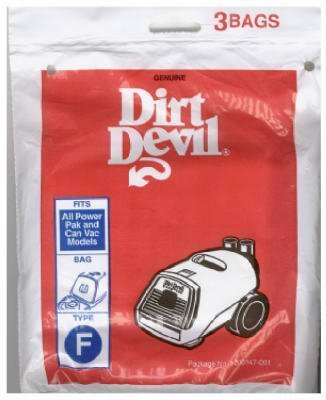 Dirt Devil Replacement Type F Vacuum Cleaner Bags, Package of 3 by Dirt Devil (Devil Dirt Type Replacement)