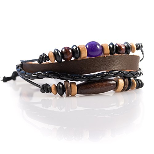 Moneta Jewelry Handmade Tribal Artisan Craft Multi Strand Bracelet Genuine Leather Fashion Accessory (purple bead) (Genuine Multi Strand)