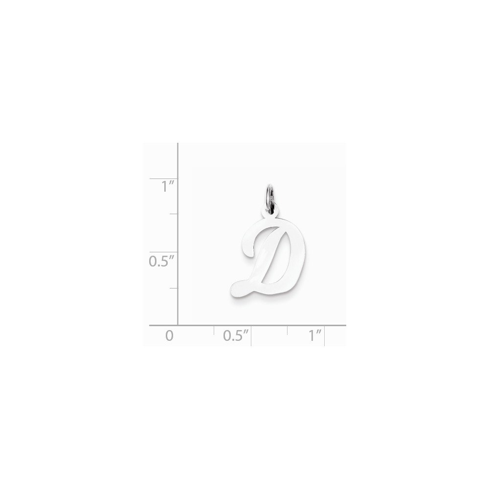 Mireval Sterling Silver Medium Script Initial D Charm on a Sterling Silver Carded Box Chain Necklace 18
