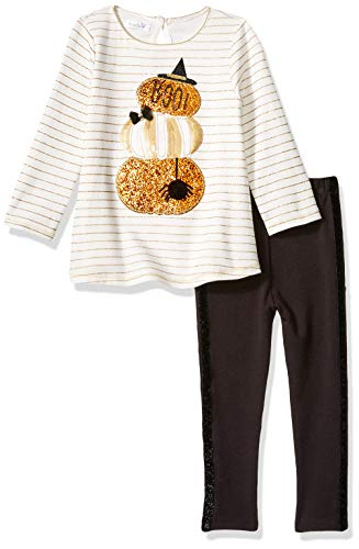 Mud Pie Baby Girls Halloween Pumpkin Tunic & Legging 2 Piece Set, White, 12-18 Months ()