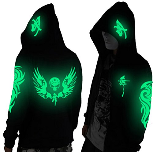 Unisex-Adult/Teens Galaxy Unique Design Hoodie Luminescent Hoody Glow Lights at Night (XS(tag S), Short Green Wing&Skull)
